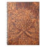 Elegant Renaissance Antique Leather Damask Spiral Notebooks