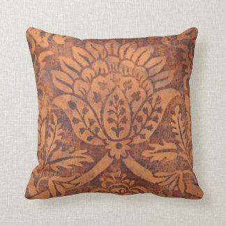 Elegant Renaissance Antique Leather Damask Throw Pillow