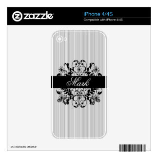 Elegant Renaissance Royal Damask Custom Name Skin For iPhone 4