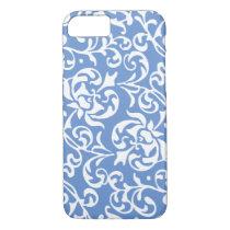 Elegant Renaissance Tudor Damask Blue and White iPhone 7 Case