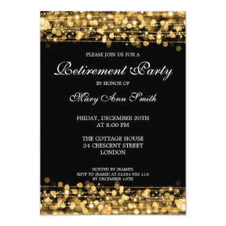 "Elegant Retirement Party Gold Sparkles 5"" X 7"" Invitation Card"