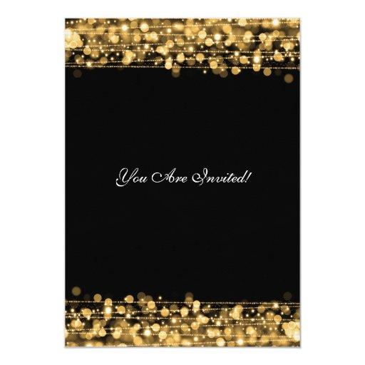 Elegant Retirement Party Gold Sparkles Custom Invitation (back side)