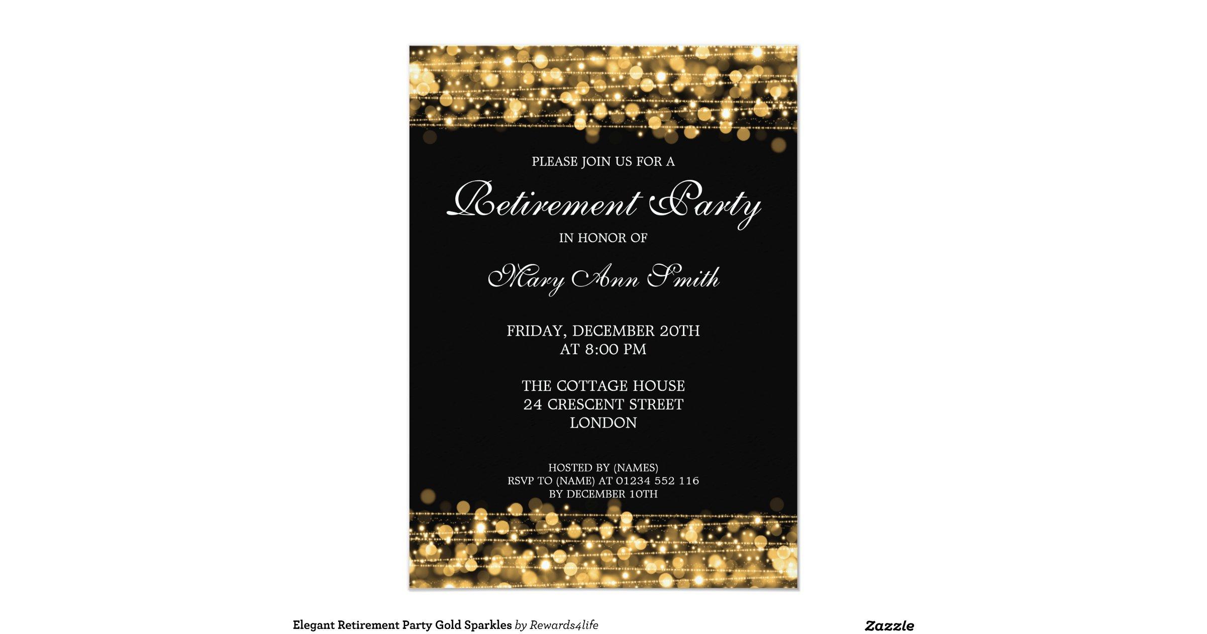 Elegant Retirement Party Gold Sparkles 5x7 Paper