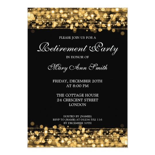 elegant retirement party gold sparkles invitation