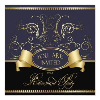 "Elegant Retirement Party Invitation Blue Gold Bl 5.25"" Square Invitation Card"