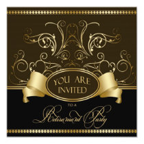 Elegant Retirement Party Invitation Brown Gold Bl