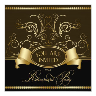Elegant Retirement Party Invitation Brown Gold Bl