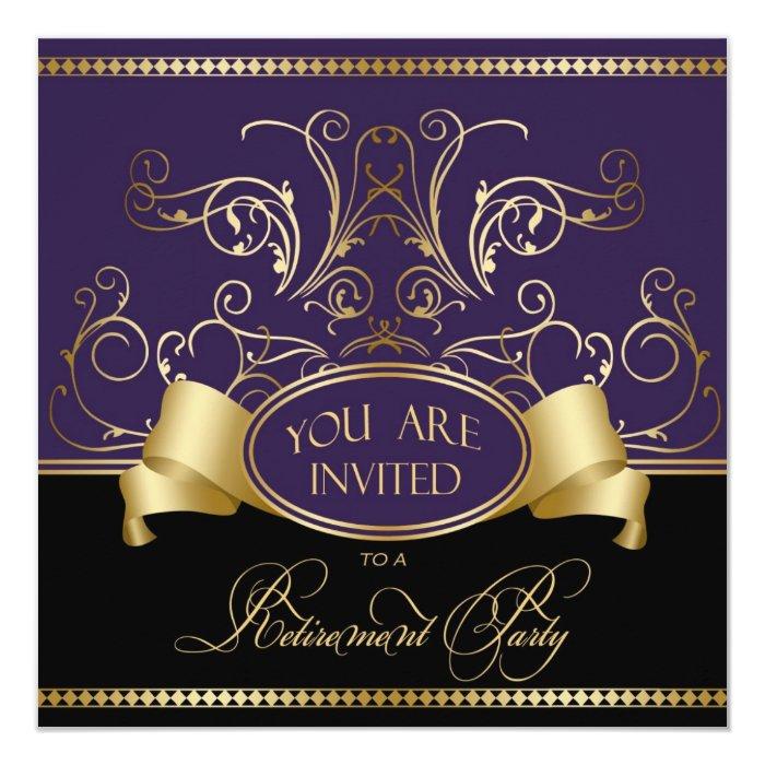 elegant retirement party invitation purple gold bl