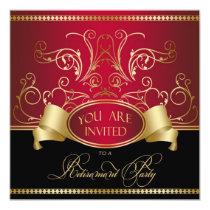 Elegant Retirement Party Invitation Red Gold Bl