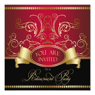 Elegant Retirement Party Invitation Red Gold Bl
