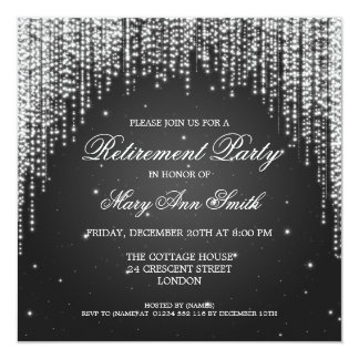 Elegant Retirement Party Night Dazzle Black Card
