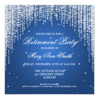 Elegant Retirement Party Night Dazzle Blue Card