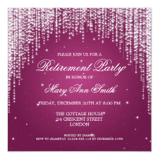 Elegant Retirement Party Night Dazzle Pink Card