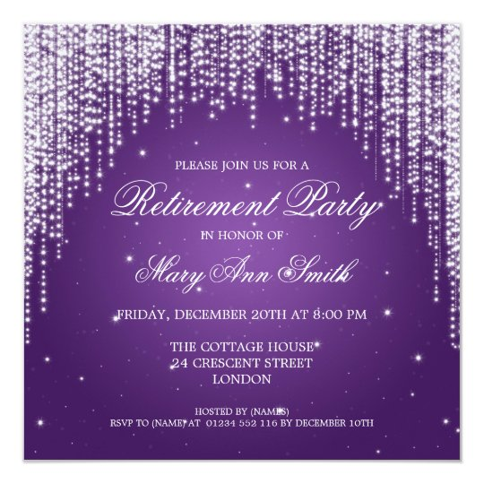 Purple Retirement Party Invitations Announcements – Purple Party Invitations
