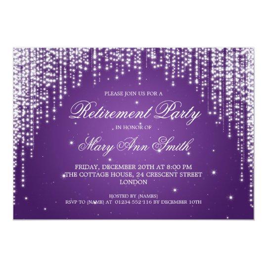 elegant retirement party night dazzle purple invitation