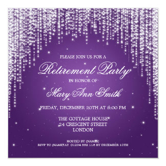 Elegant Retirement Party Night Dazzle Purple Personalized Invitation