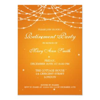 Elegant Retirement Party String of Stars Orange Card