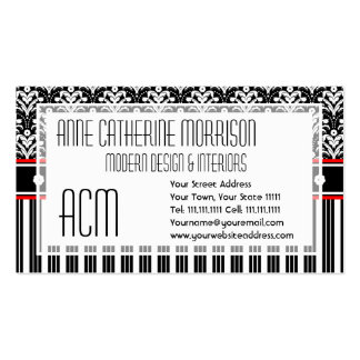 Elegant Retro 1930s Art Deco Floral Damask Double-Sided Standard Business Cards (Pack Of 100)