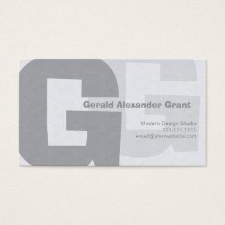 Elegant Retro Big Blue Gray G Business Card