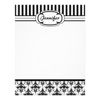 Elegant Retro Black and White Damask Stripes Letterhead