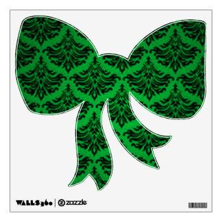 Elegant Retro Black Green Holiday Bow Wall Decal