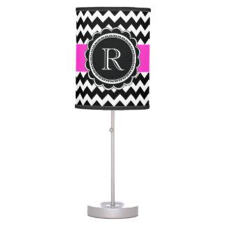 Elegant Retro Black Hot Pink Monogram Chevron Desk Lamps