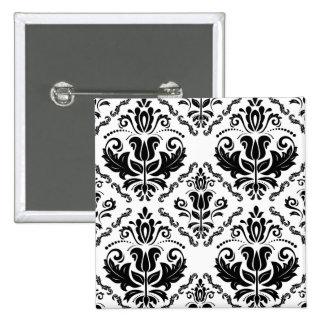 Elegant Retro Black White Damask Pattern Button