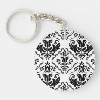 Elegant Retro Black White Damask Pattern Double-Sided Round Acrylic Keychain