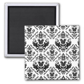 Elegant Retro Black White Damask Pattern Magnet