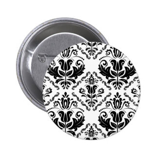 Elegant Retro Black White Damask Pattern Pinback Button