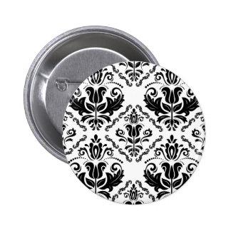 Elegant Retro Black White Damask Pattern Pinback Button