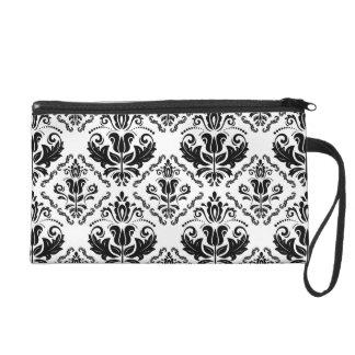 Elegant Retro Black White Damask Pattern Wristlet
