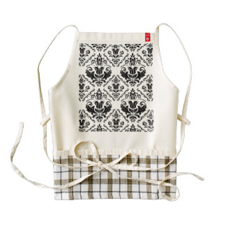 Elegant Retro Black White Damask Pattern Zazzle HEART Apron