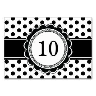 Elegant Retro Black White Polka Dot Table Numbers Card
