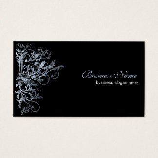 Elegant Retro Blue Flower Swirls Business Card