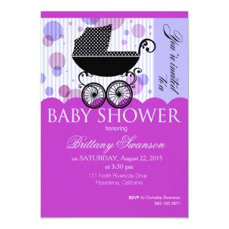 Elegant Retro Carriage Bab | violet 5x7 Paper Invitation Card