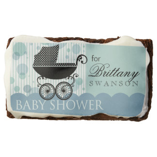 Elegant Retro Carriage Baby Shower | baby blue Brownie