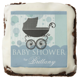 Elegant Retro Carriage Baby Shower | baby blue Chocolate Brownie