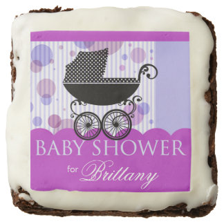 Elegant Retro Carriage Baby Shower | lilac blue Brownie