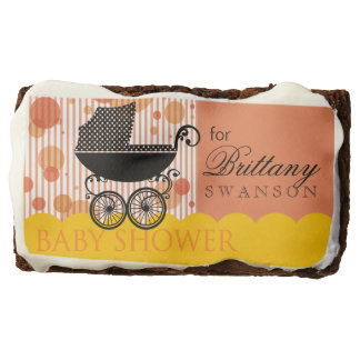 Elegant Retro Carriage Baby Shower marigold peach Brownie