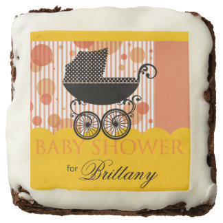 Elegant Retro Carriage Baby Shower marigold peach Chocolate Brownie
