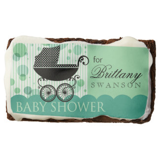 Elegant Retro Carriage Baby Shower | mint aqua Brownie