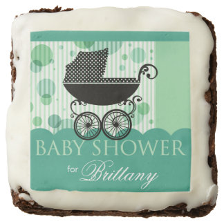 Elegant Retro Carriage Baby Shower | mint aqua Chocolate Brownie