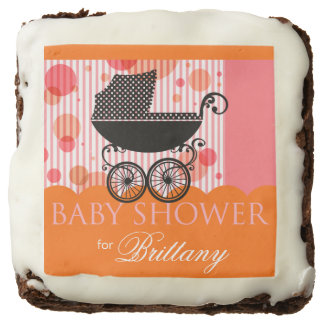 Elegant Retro Carriage Baby Shower | orange pink Brownie
