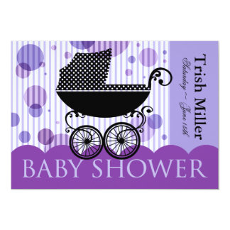 Elegant Retro Carriage Baby Shower Party 5x7 Paper Invitation Card