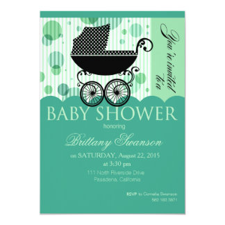 Elegant Retro Carriage Baby Shower Party  | aqua 5x7 Paper Invitation Card