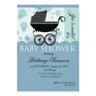 """Elegant Retro Carriage Baby Shower Party blue 5"""" X 7"""" Invitation Card"""