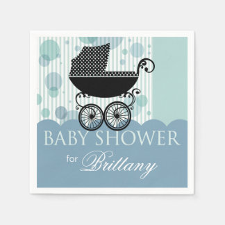 Elegant Retro Carriage Baby Shower Party blue Paper Napkin