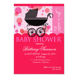 """Elegant Retro Carriage Baby Shower Party hot pink 5"""" X 7"""" Invitation Card"""