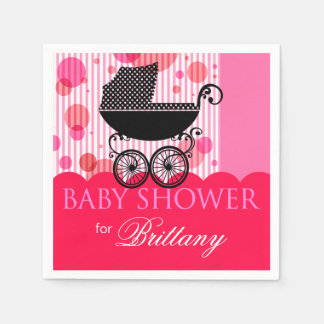 Elegant Retro Carriage Baby Shower Party hot pink Napkin